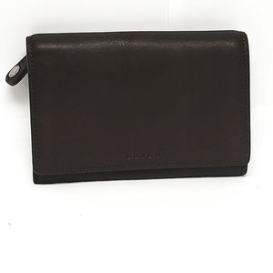 Coach Compact Leather Clutch Wallet Zip Coin Purse